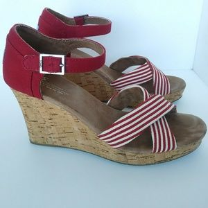 Toms Red and White Striped Cork Wedges Size 11